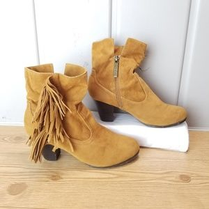 Shiekh Jax Fringe Zip Up Ankle Booties Size 7.5